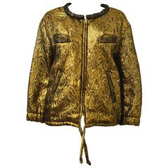 Isabel Marant Reversible Gold Brocade Bomber Jacket