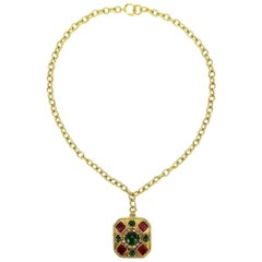 Chanel Gripoix Glass and Faux Pearl Square Pendant Gold Chain Necklace