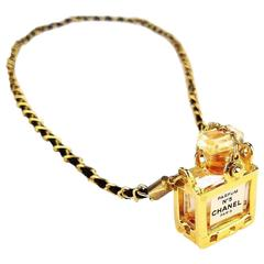 Chanel No5 Perfume Bottle Pendant Gold Chain Necklace