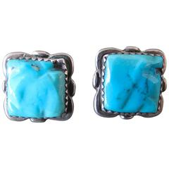 Vintage Navajo Turquoise Silver Native American Earrings by Alvina Quam Zuni