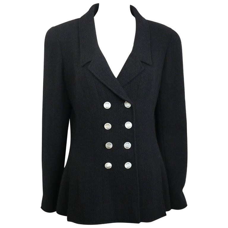 Chanel Black Boucle Wool Double Breasted with Mother of Pearl Buttons Jacket