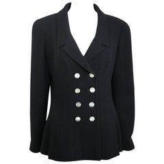 97 Chanel Black Boucle Wool Double Breasted with Mother of Pearl Buttons Jacket