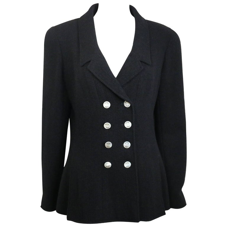 97 Chanel Black Boucle Wool Double Breasted with Mother of Pearl Buttons Jacket  For Sale