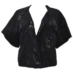 Dries Van Noten Black Cropped Jacket with Embroidery and Embellishment