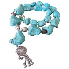Vintage Turquoise Nugget Bead Necklace with Sterling Silver Details