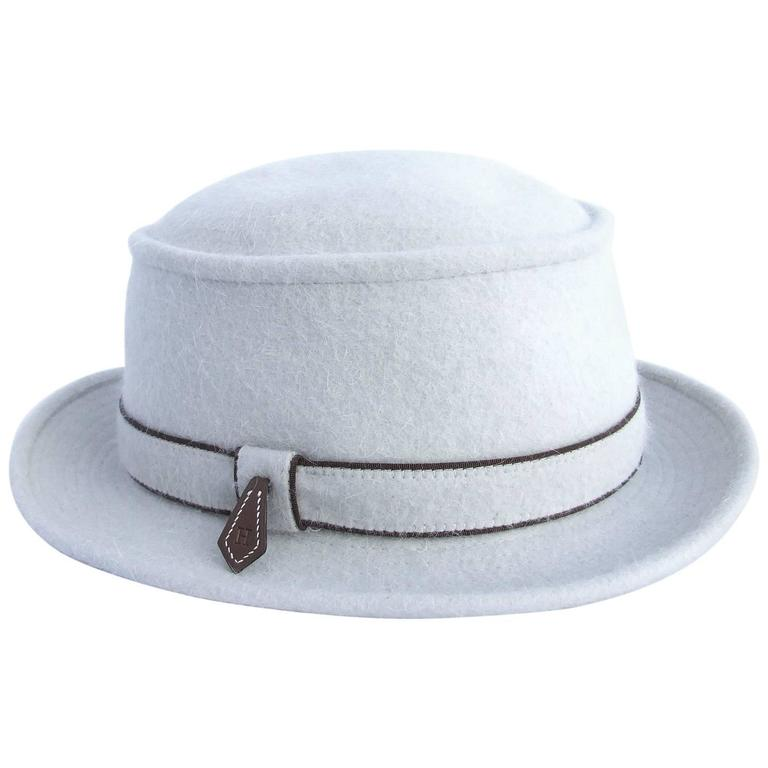 MOTSCH Paris For HERMES Felt Hat Light Grey Size 56 For Sale