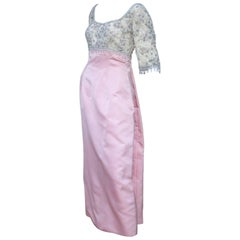 Pretty in Pink 1950's Silk Satin Beaded Princess Dress With Train