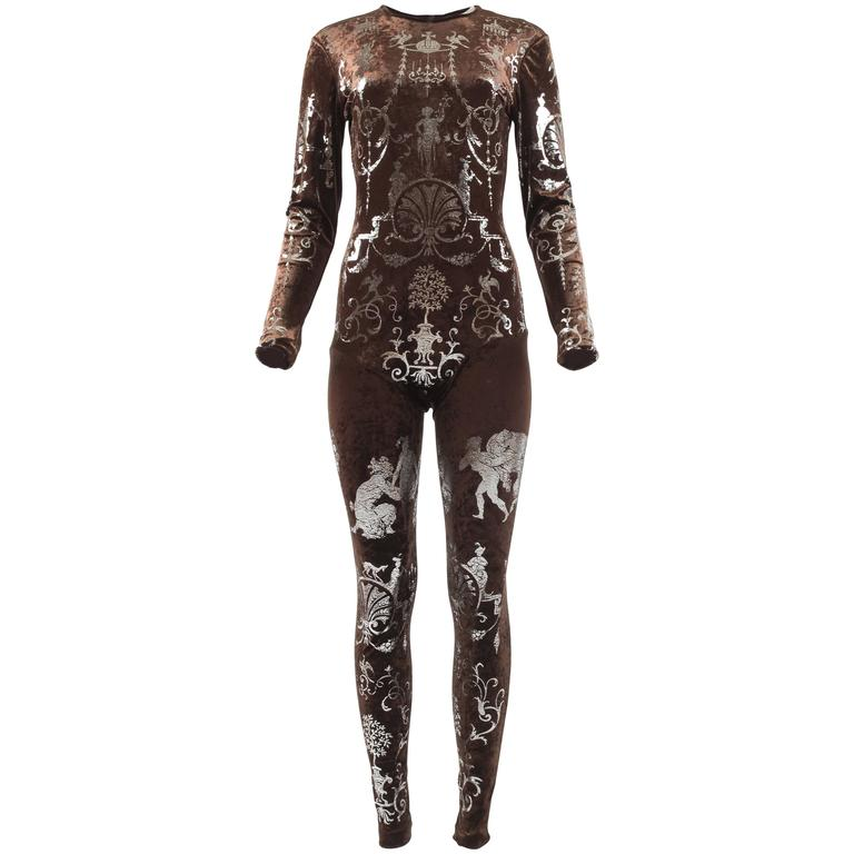 Vivienne Westwood Autumn-Winter 1990 brown screen printed silver jumpsuit For Sale