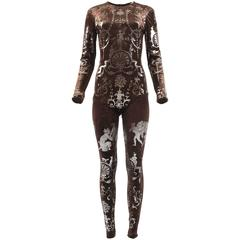 Vivienne Westwood Autumn-Winter 1990 brown screen printed silver jumpsuit