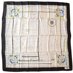New Old Stock Escada Silk Scarf Made in Italy Sailboat Sailing away