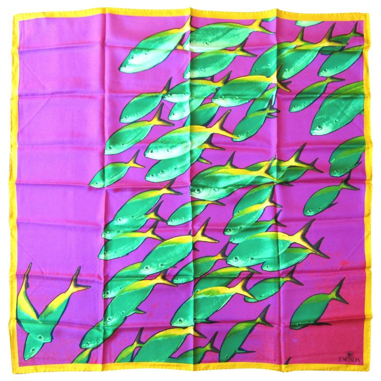 """Escada Silk Scarf Underwater Fish """"New Old Stock"""" Made in Italy"""