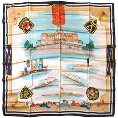 Escada New Old Stock Harvard Rowing team Silk scarf Made in Italy