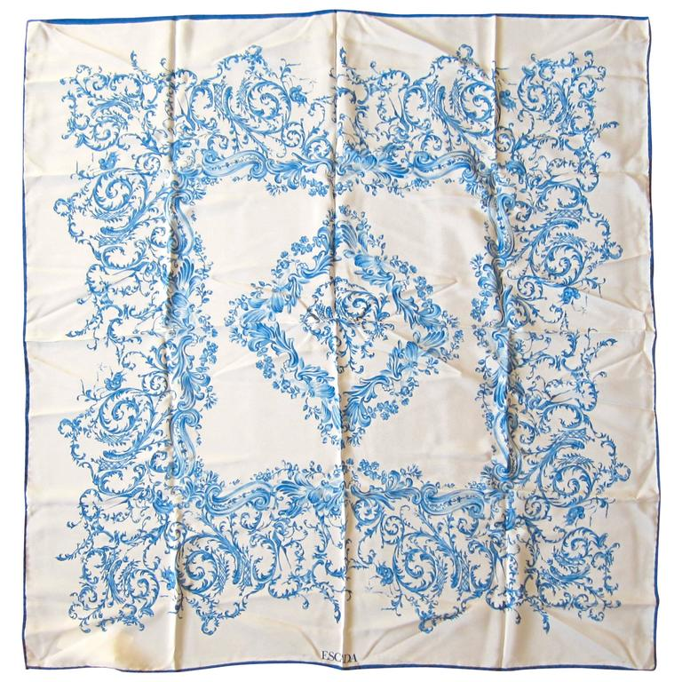 New Old Stock Escada Blue and White Silk Scarf Made in Italy