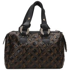 2000s Louis Vuitton Brown Coated Canvas Monogram Eclipse Sequins Noir Speedy 28