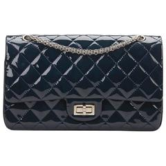 2010s Chanel Navy Quilted Patent Leather 2.55 Reissue 227 Double Flap Bag