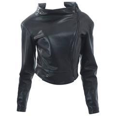 Vintage CLAUDE MONTANA 1990s zipped black Leather vintage Jacket
