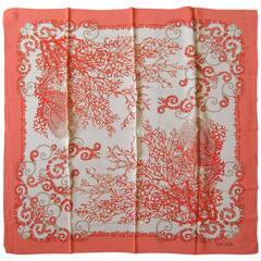New Old Stock 1990s Coral Escada Silk Scarf Made in Italy Never worn