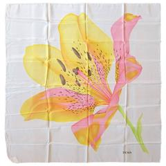 Wonderful Escada Lily Silk Scarf New Old stock made in Italy