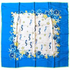 Sea Horses Star Fish New Old Stock Escada Silk Scarf Made in Italy Blue Yellow