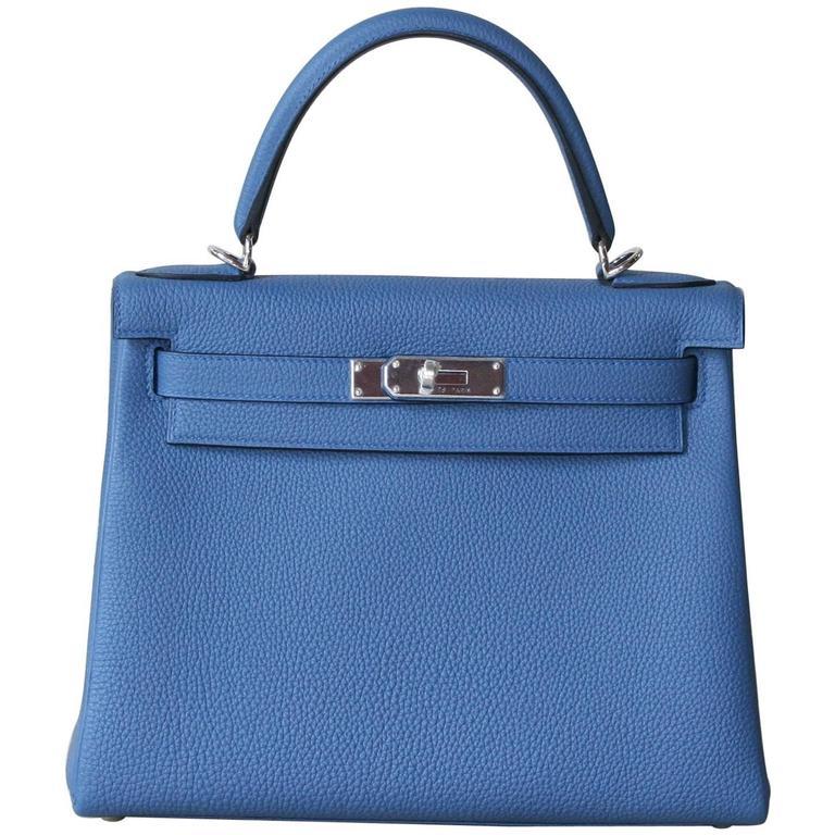 HERMES Kelly Togo 28' Bleu Agathe For Sale