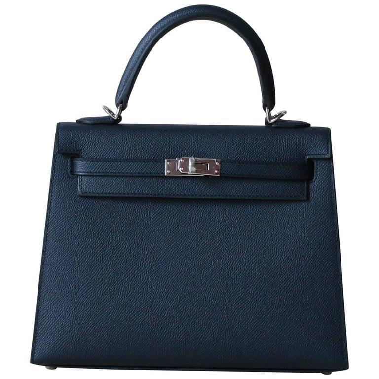 HERMES Kelly Sellier epsom 25' Bleu Indigo For Sale