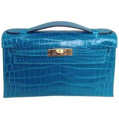 HERMES Mini Kelly in Blue Izmir Crocodile