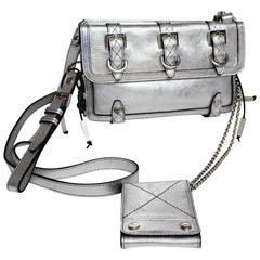 Givenchy Silver Leather Corset Detail Mini Biker Cross Body Chain Bag Purse
