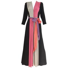 1940s multi color blocking silk dress