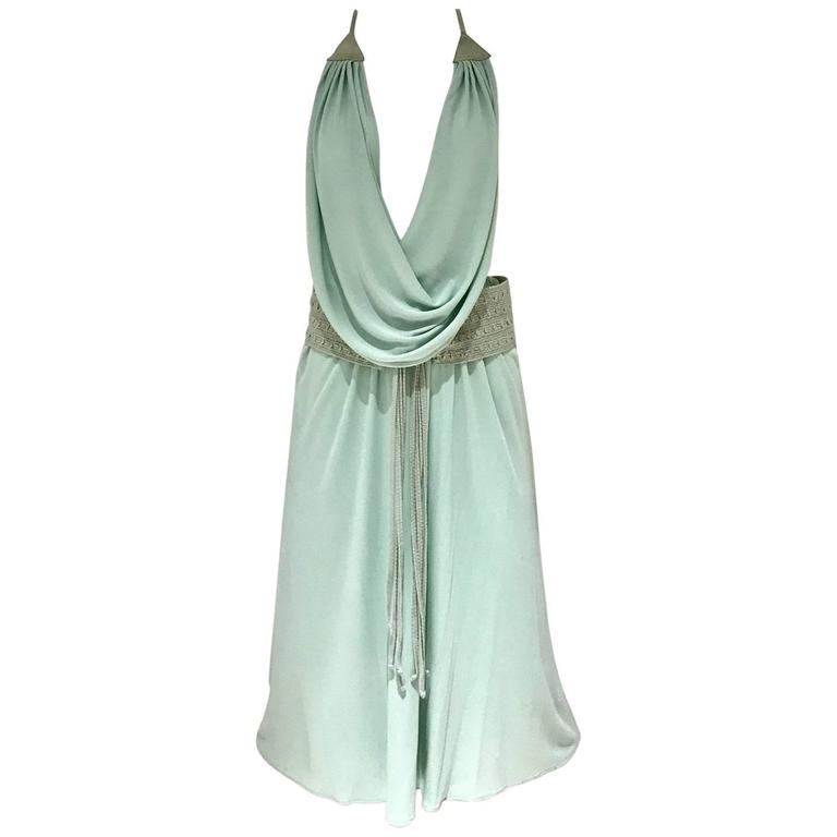 70s minty green knit jersey cowl neck halter dress