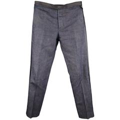 MAISON MARTIN MARGIELA Size 34 Indigo Denim Black Satin Tuxedo Stripe Pants