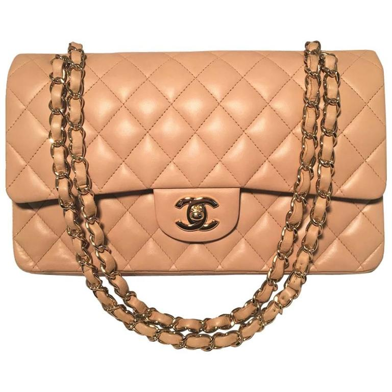 "Chanel Nude Lambskin 10"" 2.55 Double Flap Classic Shoulder Bag 1"