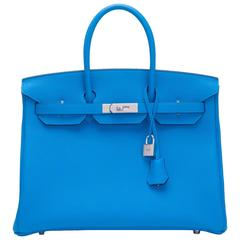 Hermes Blue Zanzibar Verso Togo Birkin 35cm Palladium Hardware