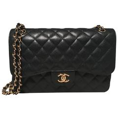 Chanel Black Caviar 12inch 2.55 Double Flap Classic Shoulder Bag
