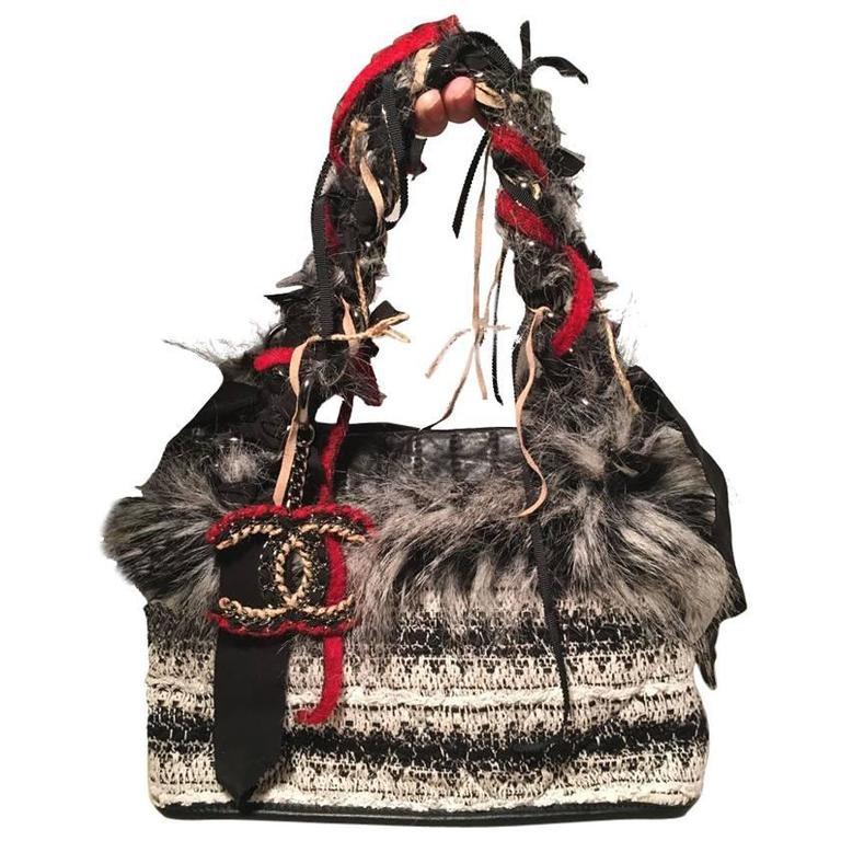 Chanel Grey Black and White Tweed Fur and Ribbon Handbag