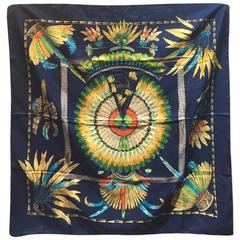 Hermes Vintage Brazil Silk Scarf in Navy Blue