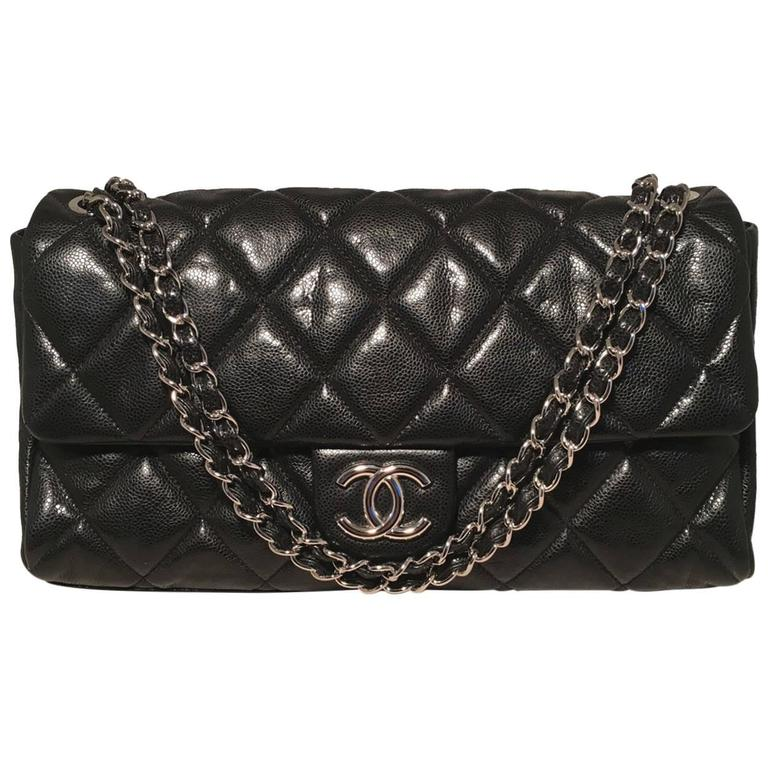 Chanel Black Relaxed Caviar XL Classic Flap Shoulder Bag For Sale