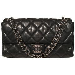 Chanel Black Relaxed Caviar XL Classic Flap Shoulder Bag