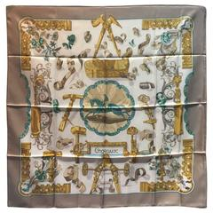Hermes Copeaux Silk Scarf in Taupe and White