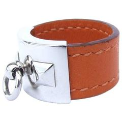 Heremes Medor Collier De Chien Ring Gold Leather PHW Size L 58