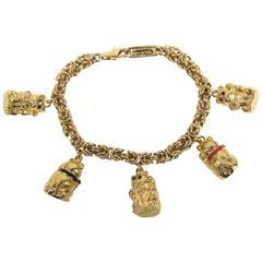 JUDITH LEIBER Teddy Bear Charm Bracelet New in Box 1980s