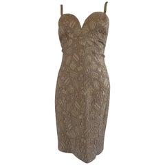 Loretta di Lorenzo Gold Tone Tailored Dress