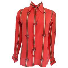 Gucci by Guccio Gucci Red Silk Shirt