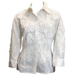 Carolina Herrera Ivory Floral Detailed Button Up Blouse