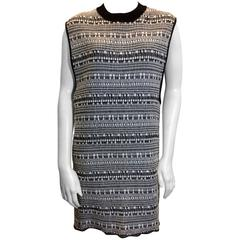 Helmut Lang Black and White Textured Sweater Dress