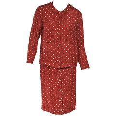 Red Vintage Chanel Silk Skirt Set