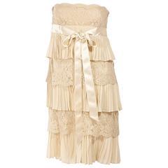 Tan Valentino Lace & Pleated Silk Dress