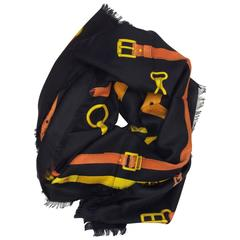 Gucci Orange & Yellow Chain Belt Print Scarf Shawl