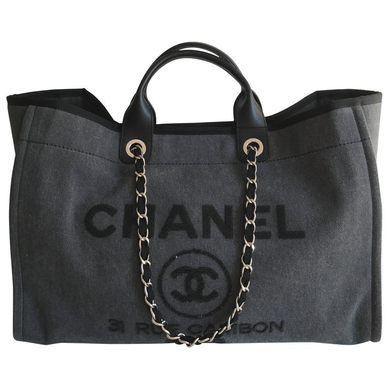 Chanel Deauville Sequins Large Tote Charcoal Grey New 2017