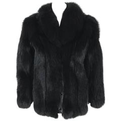 1970's Galanos Couture Black Fox-Fur & Leather Cropped Chubby Coat Jacket