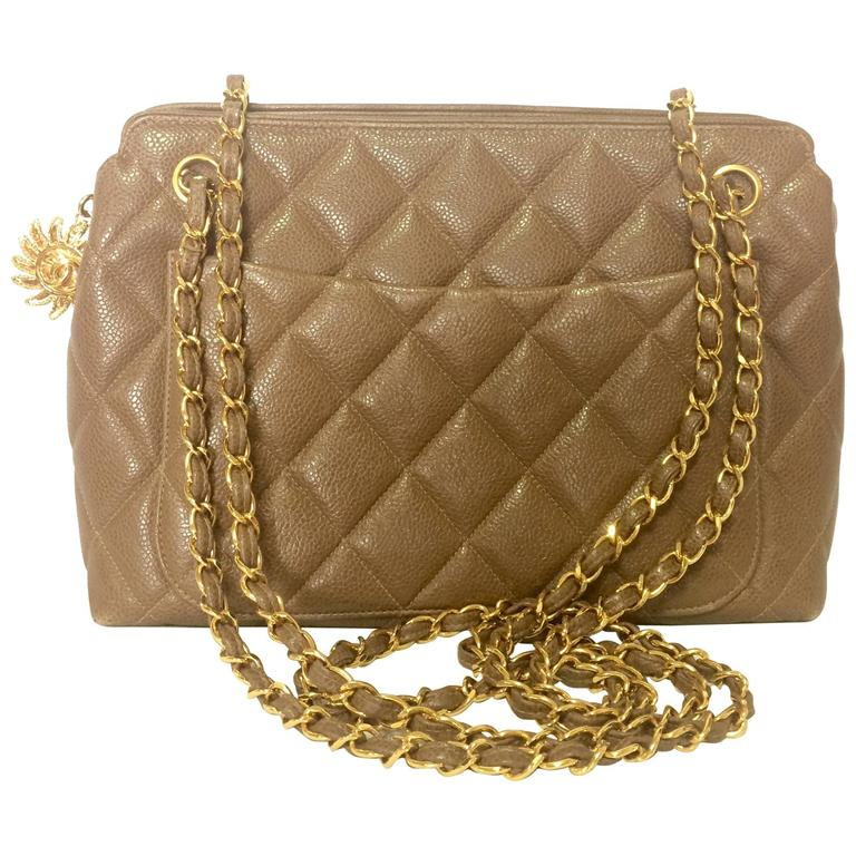 Vintage CHANEL brown caviar leather chain shoulder bag with golden CC mark motif